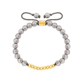 دستبند طلا سنگی نه حلقه کارتیه و حدید روشن