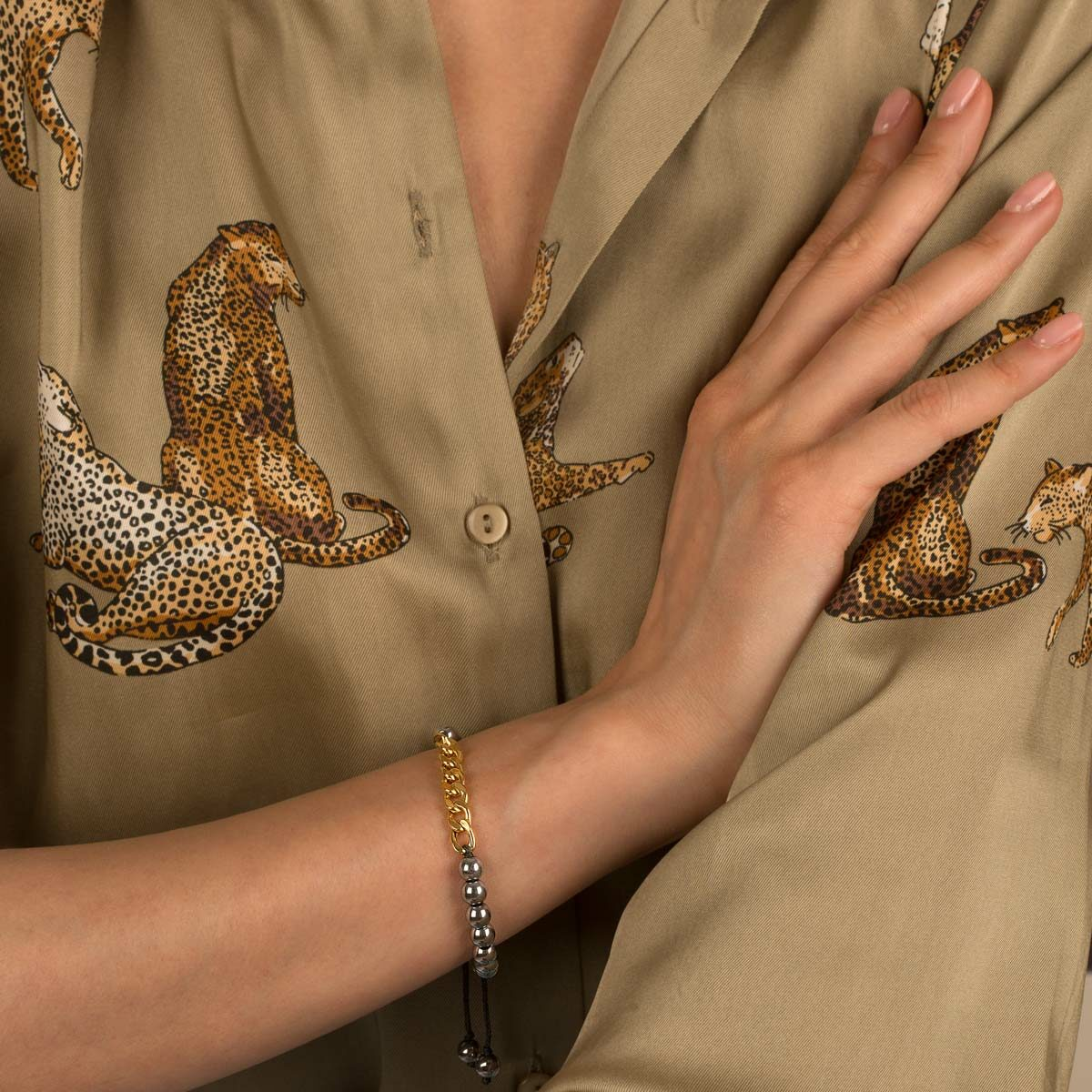 دستبند طلا سنگی هشت حلقه کارتیه و حدید روشن