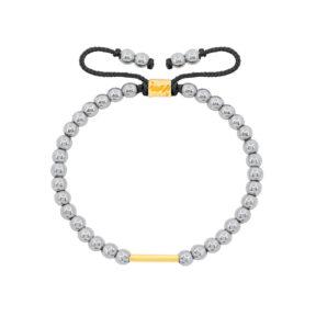 دستبند طلا سنگی استوانه و حدید روشن