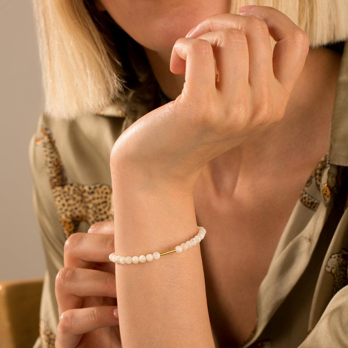 دستبند طلا سنگی استوانه و صدف