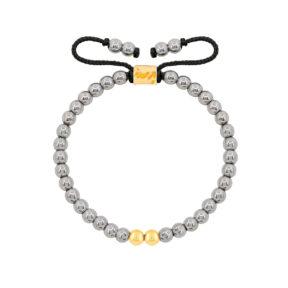 دستبند طلا سنگی دو گوی و حدید روشن