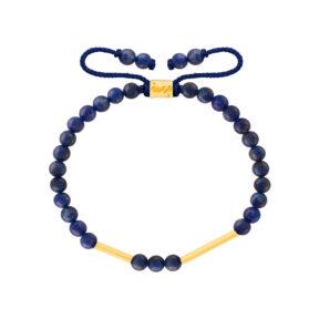 دستبند طلا سنگی دو استوانه و لاجورد