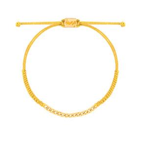دستبند طلا بافت زرد پانزده حلقه کارتیه