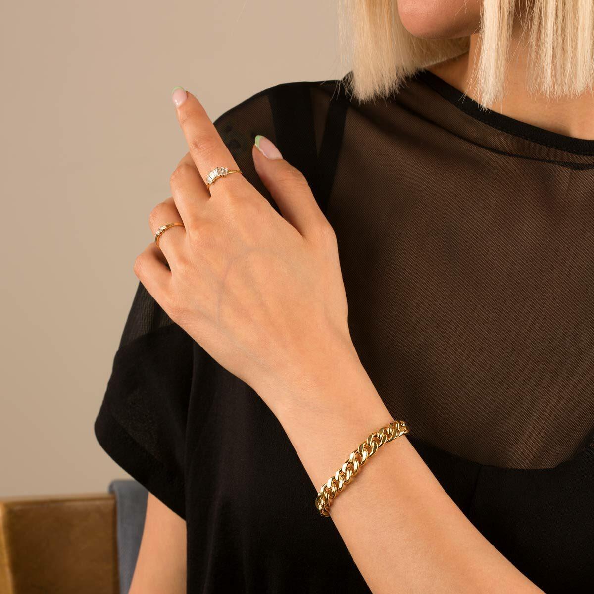 دستبند زنجیری طلا کارتیه 10 میلی متری
