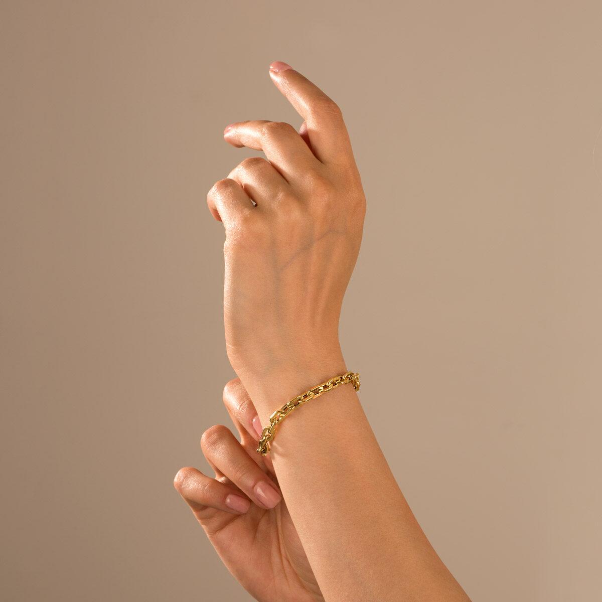 دستبند زنجیری طلا هرمس
