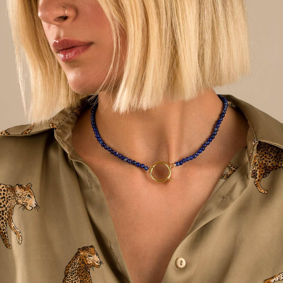 گردنبند طلا سنگی قفل دایره و لاجورد