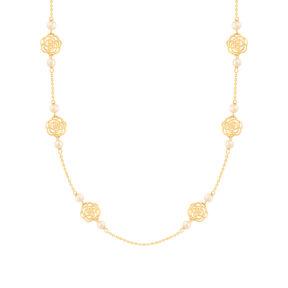 گردنبند طلا شش گل رز و مروارید