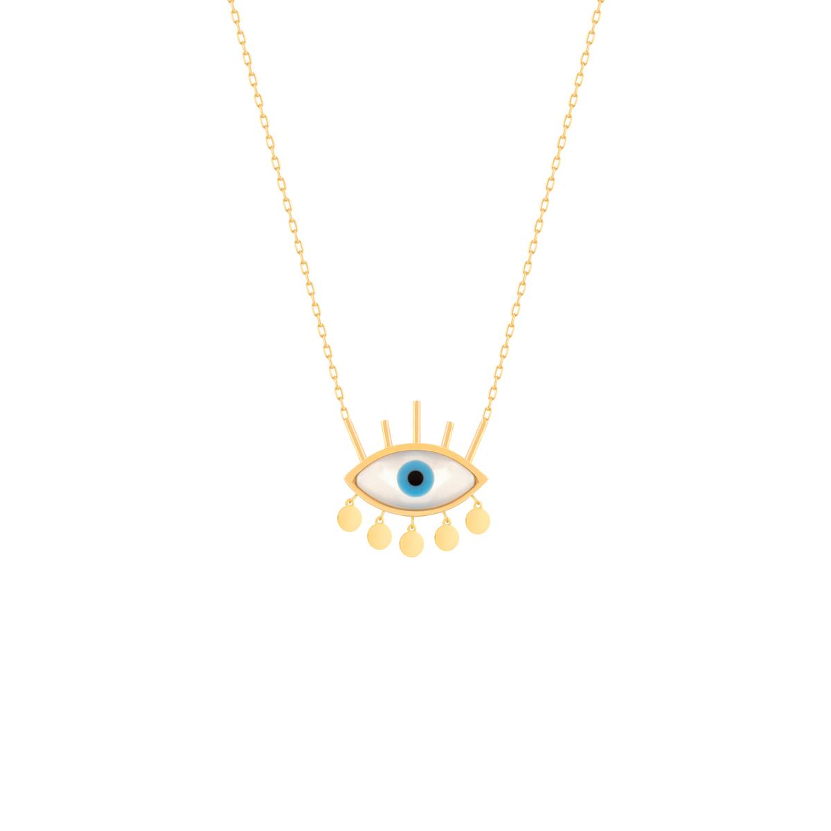 گردنبند طلا چشم مژه دار کوچک و آویز دایره
