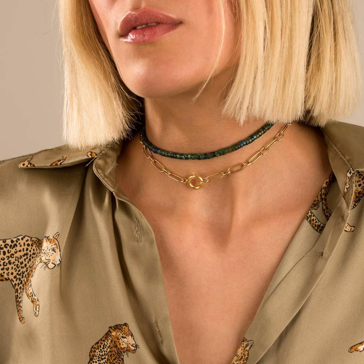 گردنبند طلا کُلار و لاجورد واشری