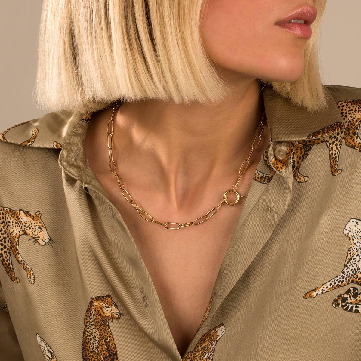 گردنبند زنجیری طلا کادنا قفل دایره متوسط