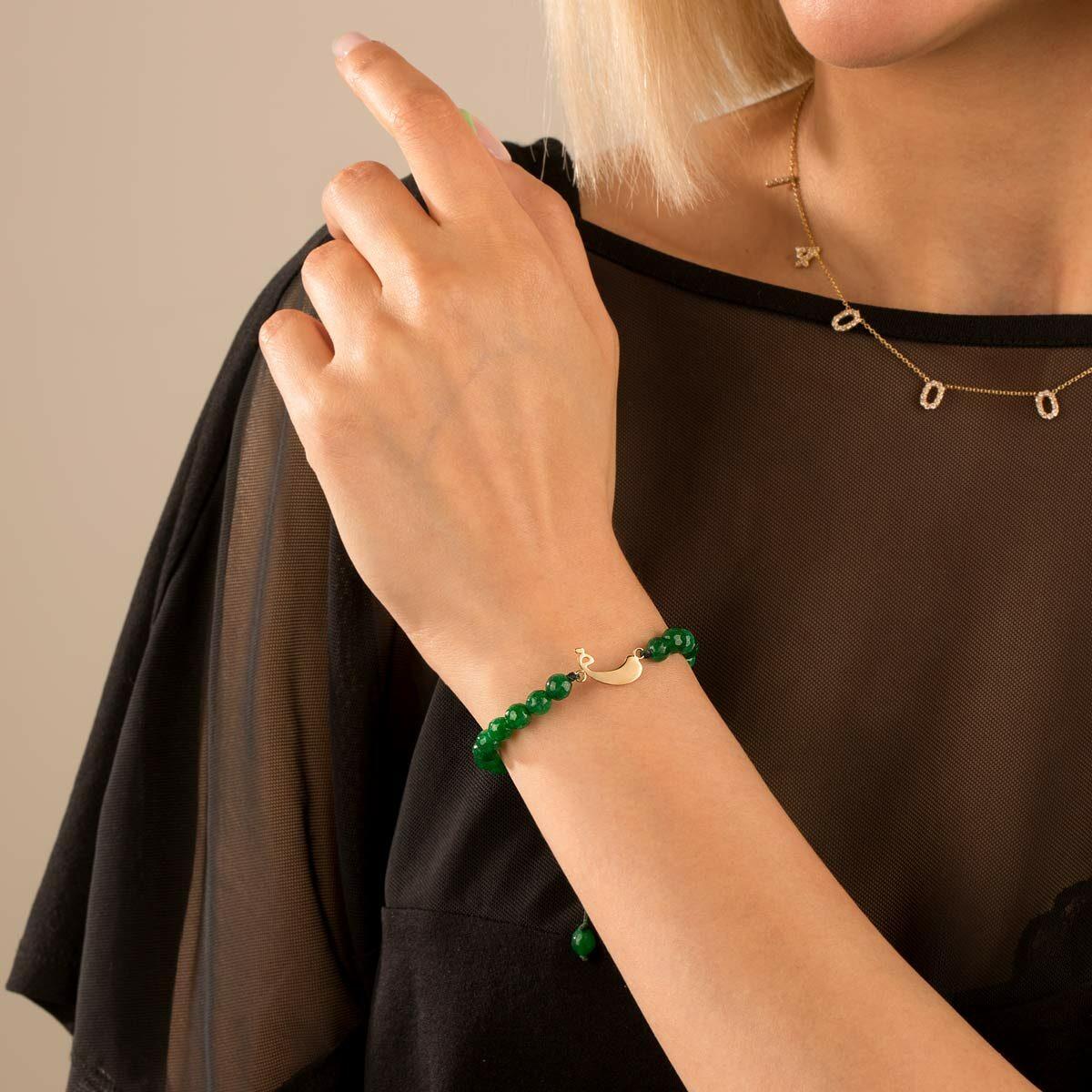 دستبند طلا سنگی حرف ف