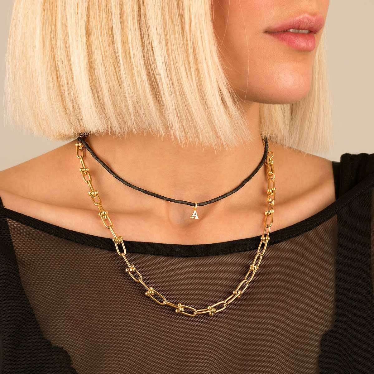گردنبند طلا سنگی حرف A