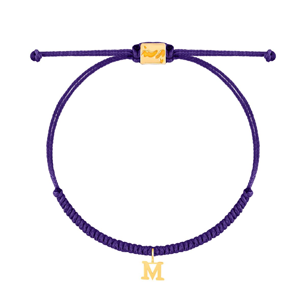 دستبند طلا بافت حرف M