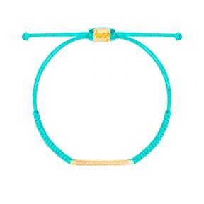 دستبند طلا بافت فیروزه ای دوستی