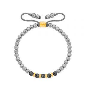 دستبند طلا سنگی چهار مهره و حدید روشن