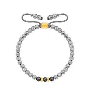دستبند طلا سنگی دو مهره و حدید روشن