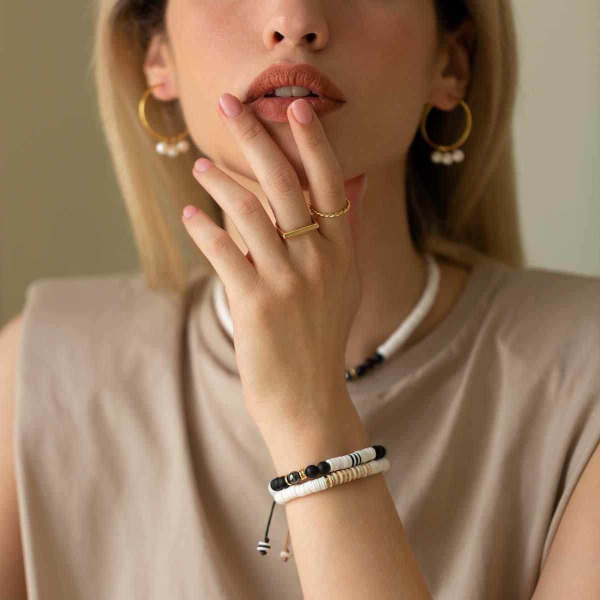 دستبند طلا سنگی شش حلقه فیمو