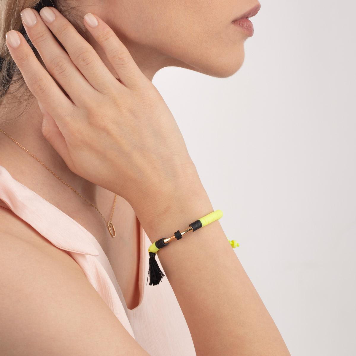 دستبند طلا سنگی دو استوانه فیمو فسفری