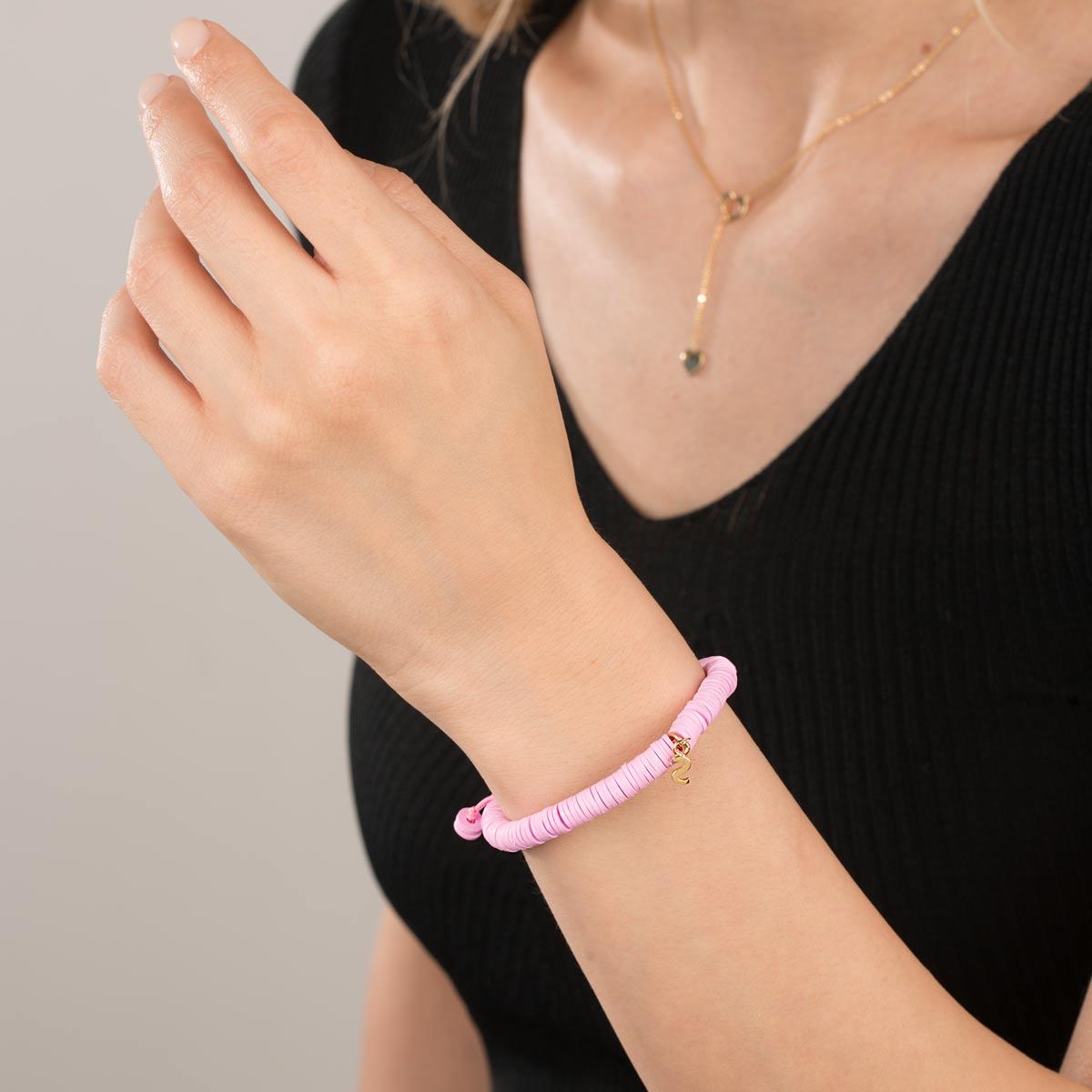 دستبند طلا سنگی حرف S فیمو