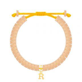 دستبند طلا سنگی حرف R فیمو