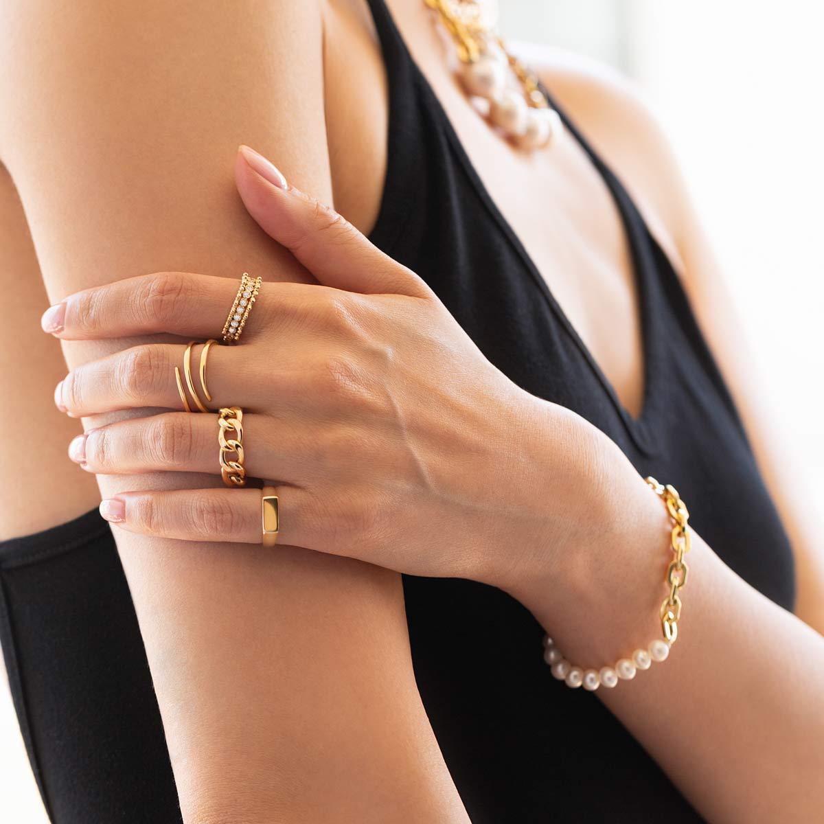 دستبند طلا هرمس و مروارید
