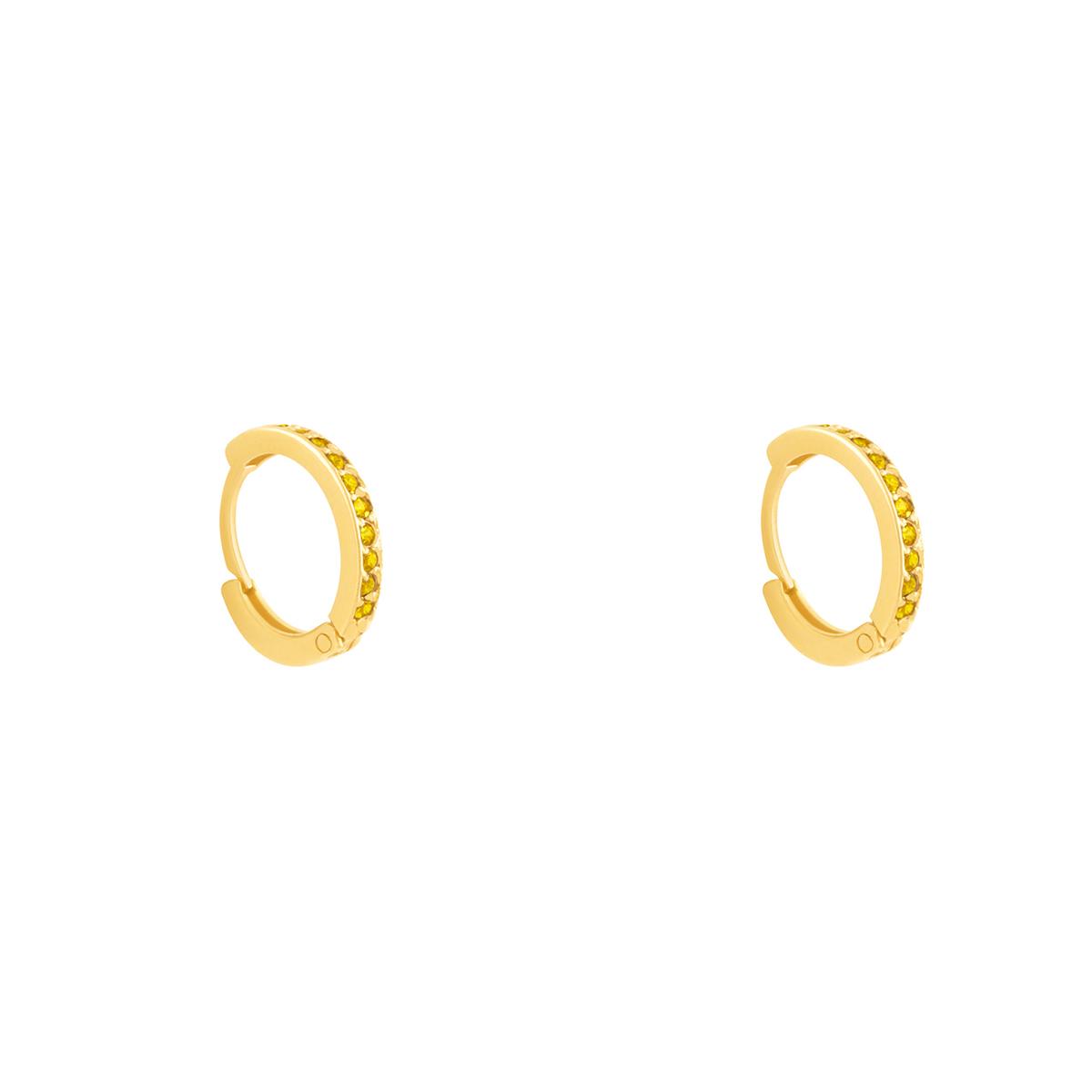 گوشواره طلا حلقه نگین دار زرد