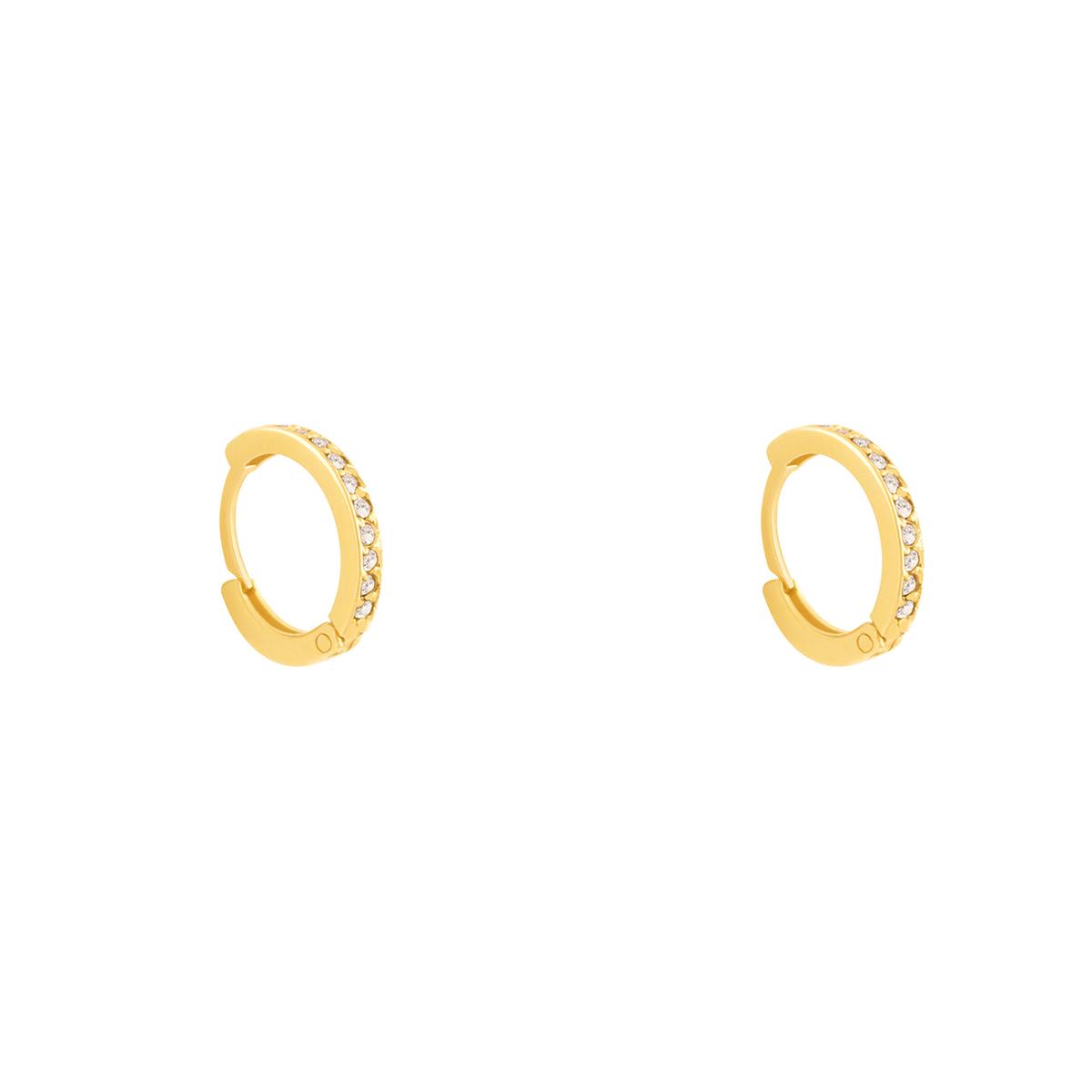 گوشواره طلا حلقه نگین دار سفید