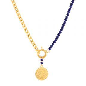 گردنبند طلا سکه و لاجورد کارتیه