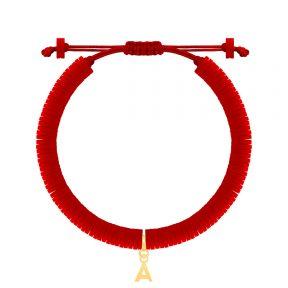 دستبند طلا سنگی حرف A فیمو قرمز