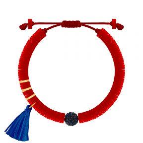 دستبند طلا سنگی سه حلقه فیمو قرمز