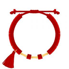 دستبند طلا سنگی سه استوانه فیمو قرمز