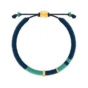 دستبند طلا سنگی سه حلقه فیمو آبی