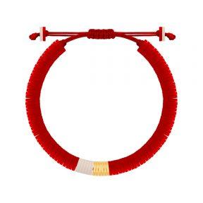 دستبند طلا سنگی شش حلقه فیمو قرمز