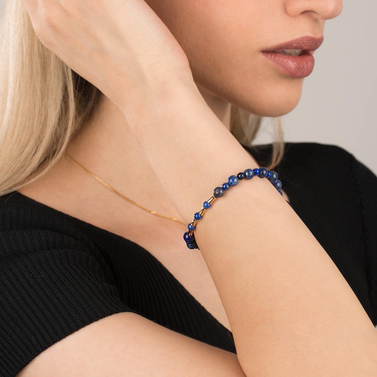 دستبند طلا سنگی چهار استوانه