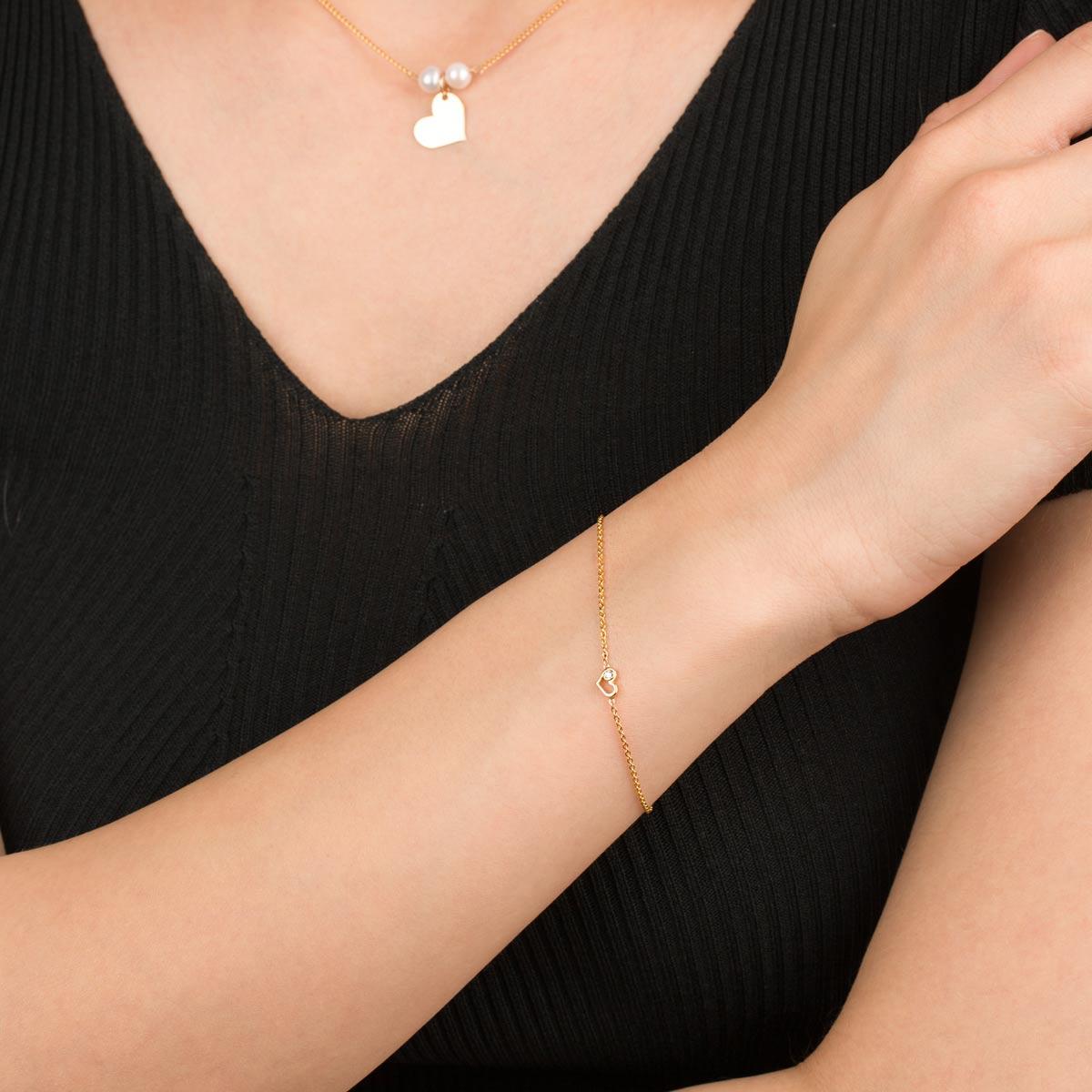 دستبند طلا قلب و تک نگین لونا