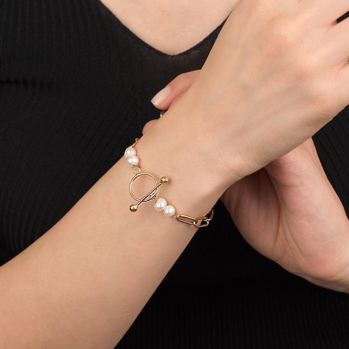 دستبند طلا کادنا و مروارید