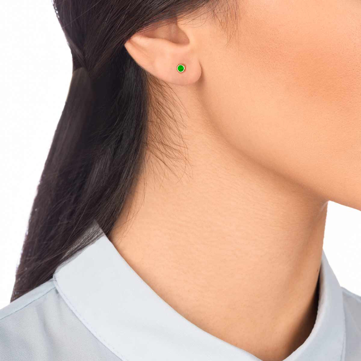 گوشواره طلا تک لنگه ای لونا سبز