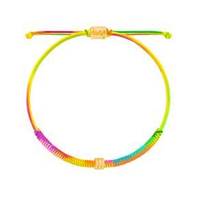 دستبند طلا بافت رنگی سه حلقه