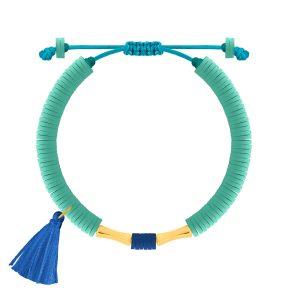 دستبند طلا سنگی دو استوانه فیمو آبی