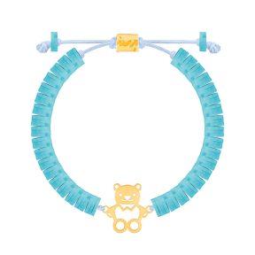 دستبند طلا سنگی بچه گانه خرس فیمو
