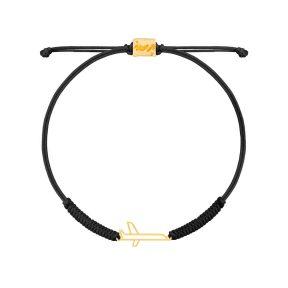دستبند طلا بافت مشکی هواپیما
