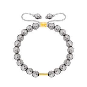 دستبند طلا سنگی استوانه و حدید
