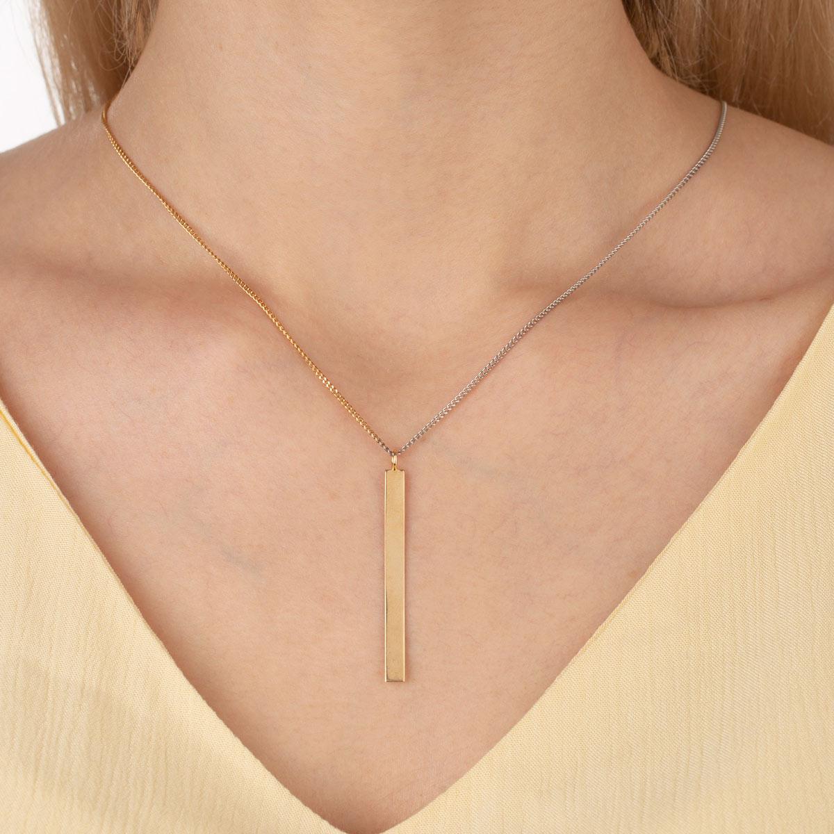 گردنبند طلا پلیت و کارتیه دو رنگ
