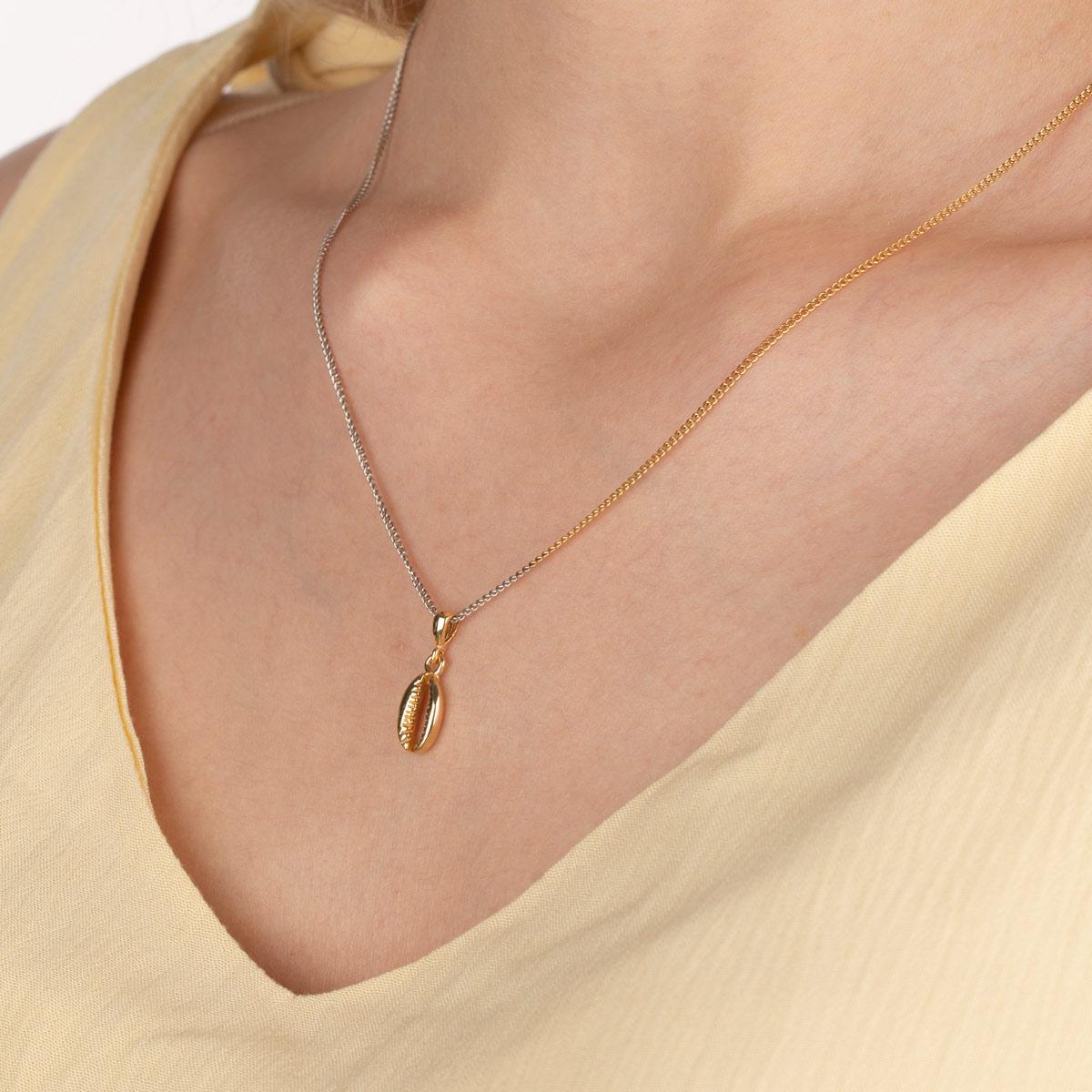 گردنبند طلا صدف و رولو دو رنگ
